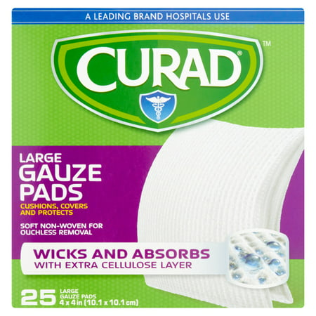 - Curad Large Guaze Pads, 25 count
