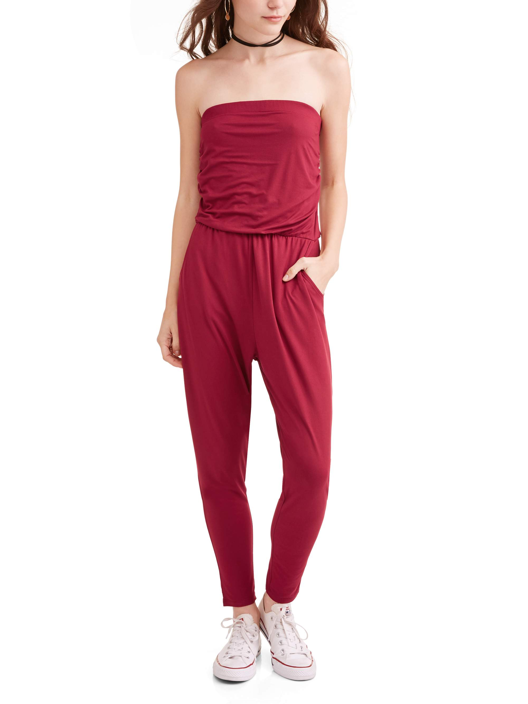 Almost Famous Juniors' Strapless Side Rouched Jumpsuit with Pocket