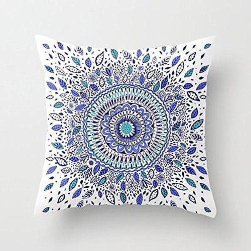 DEYOU Indigo Flowered Mandala Pillowcase Pillow Case Cover Two Sides Printing Size 20x30 inch