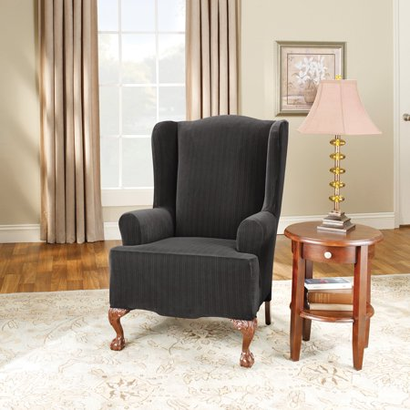 Pleasing Surefit Stretch Pinstripe 2 Piece Wing Chair Slipcover Black Machost Co Dining Chair Design Ideas Machostcouk
