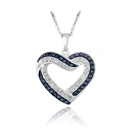 Diamond Open Heart Pendant - 0.50ct TDW Blue & White Diamond Open Heart Necklace
