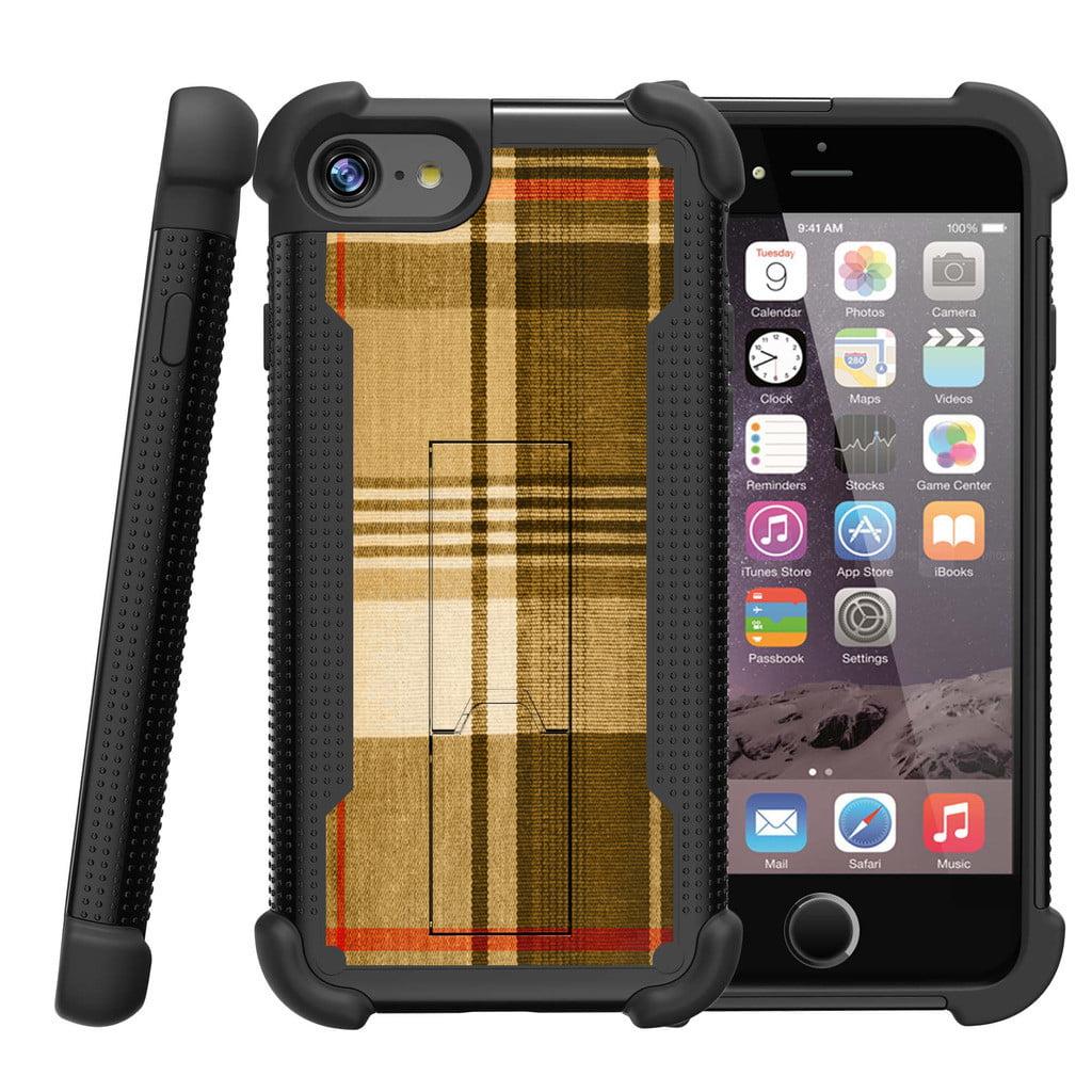 "Apple iPhone 7 4.7"" Shockwave Armor Dual Layer Kicsktand Case - Plaid Dessert"