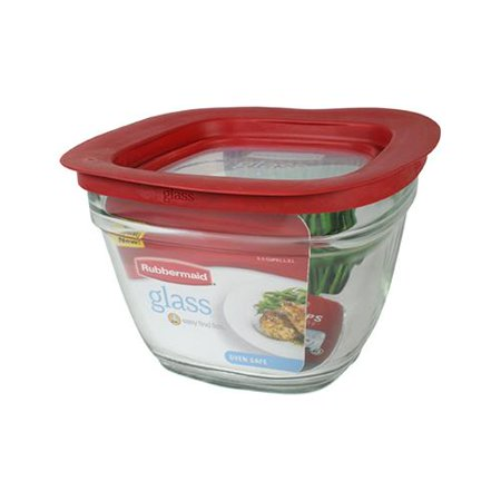 Rubbermaid 2856005 Food Storage Container, Square, Glass, 5.5-Cup ()