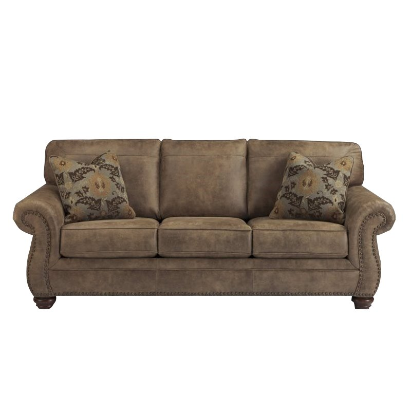 Ashley Larkinhurst Faux Leather Queen Size Sleeper Sofa in Earth Walmart