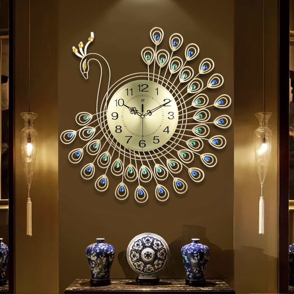 21inch Non Ticking Creative Decorative Luxury Silent 3D Large Diamonds Gold Peacock Decorative Wall Clock Metal Gift for Office/Kitchen/Bedroom/Living Room Decoration Golden