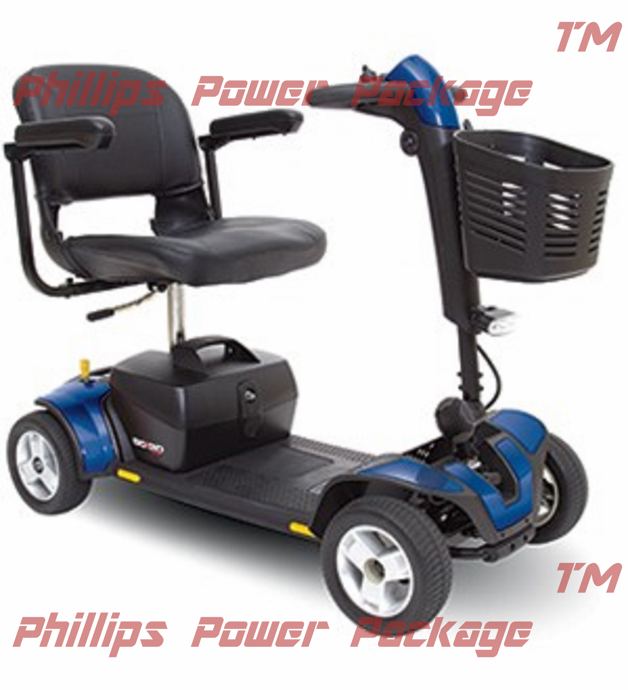 Pride Mobility - Go-Go Sport - Travel Scooter - 4-Wheel - Blue - PHILLIPS POWER PACKAGE TM