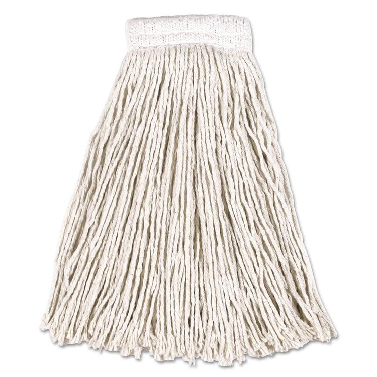 Economy Cotton Mop Heads, Cut-End, White, 20 Oz, 5-In White Headband, 12/carton