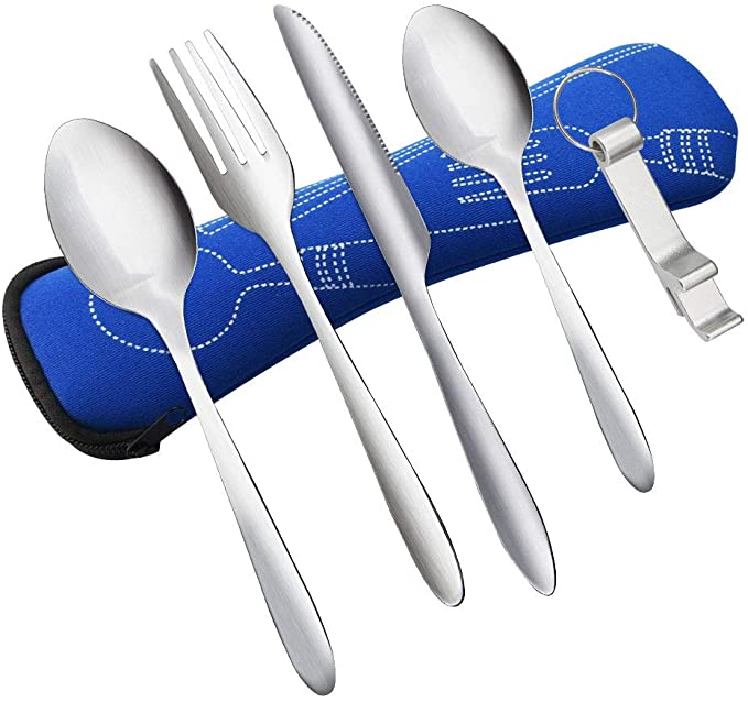 Utensils Flatware Sets for Camping Outdoor Travel Hiking Work Lunch 4 Sets Portable Cutlery Premium Stainless Steel Portable Cutlery Set