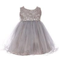 Baby Girls Silver Sequin Stone Lace Tulle Sleeveless Flower Girl Dress 12M