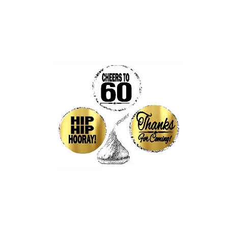 60th Birthday / Anniversary Cheers Hooray Thanks For Coming 324pk Stickers / Labels for Chocolate Drop Hersheys Kisses, Party Favors Decorations](60th Bday Decorations)