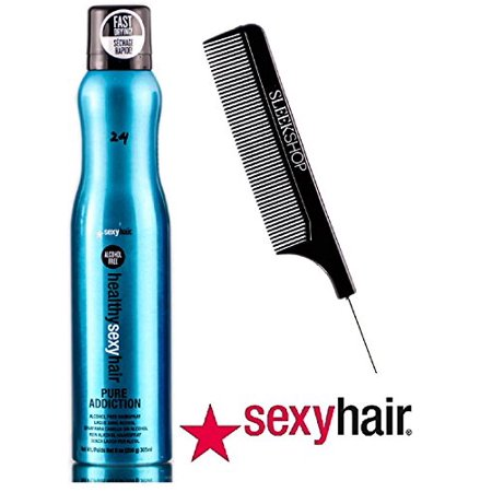 Sexy Purse (Healthy Sexy Hair PURE ADDICTION Alcohol Free Hairspray, FAST DRYING! (with Sleek Steel Pin Tail Comb) (9 oz / 305 ml) )