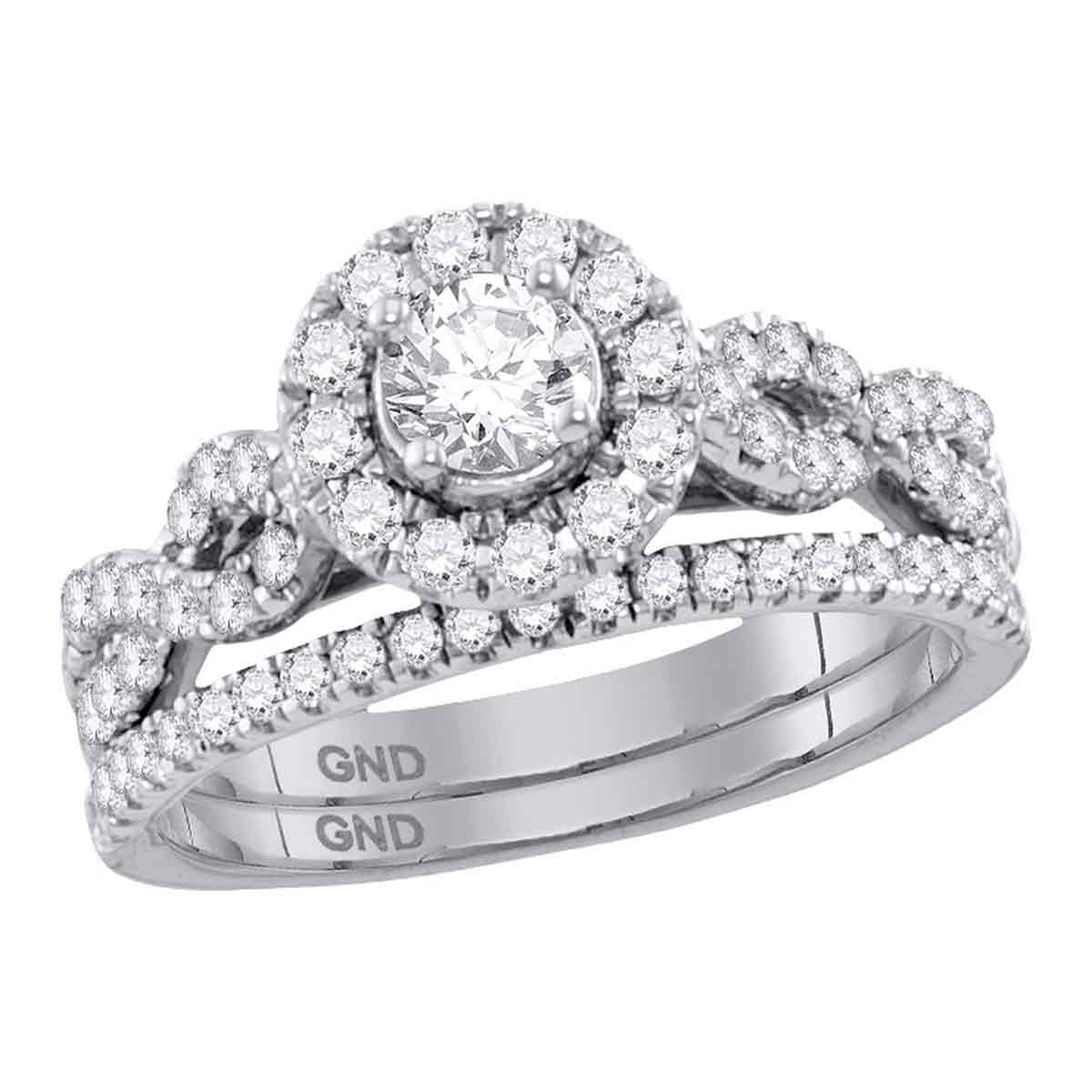 14kt White Gold Womens Round Diamond Solitaire Halo Twisted Bridal Wedding Ring (Set 1 cttw.) (Certified) by Mia Diamonds