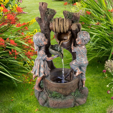 Garden Wall Water Fountain - Children at the Well Water Fountain with LED Lights- Lighted Outdoor Fountain with Antique Design for Decor on Patio, Lawn and Garden by Pure Garden
