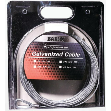 BARON 76005 50067 Aircraft Cable 96 lb Working Load Limit 100 ft L 1 1