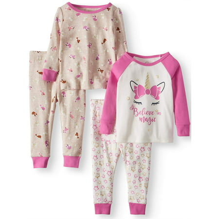 Girls Sleepover Set - Wonder Nation Cotton Tight Fit Pajamas, 4-piece Set (Baby Girls)