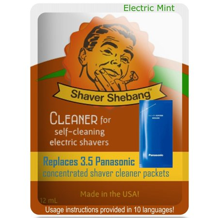 3.5 Panasonic ES-4L03 and WES-4L03 Concentrate Replacements with Shebang Bottle - Electric Mint - 1 Shaver Shebang™ cleaner solution for all Panasonic self-cleaning razors that use a