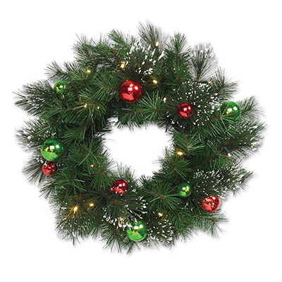 Holiday Bright Lights WR24-MXORN-BOWW30 Artificial Lighted Pine Wreath, Battery-Operated, 24-In.