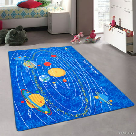 Solar System Rug (Allstar Kids / Baby Room Area Rug. Solar System Bright Blue Colorful Vibrant Colors (7' 3