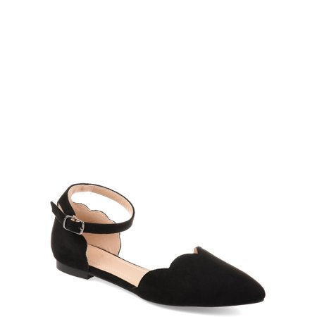 Womens Scalloped Ankle Strap Flat