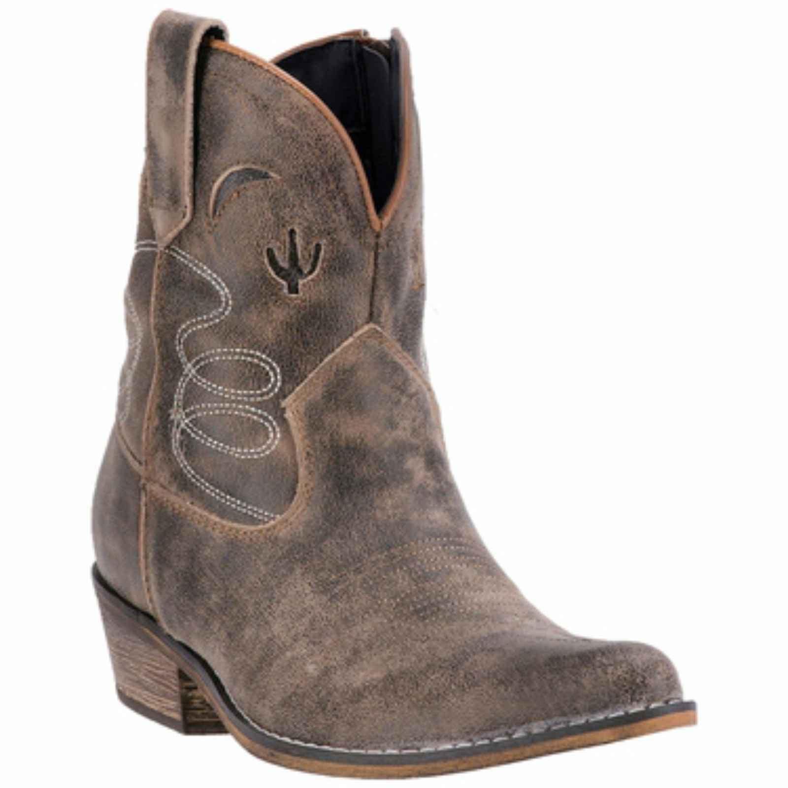 "Dan Post Ladies 7"" Taupe Leather Boot Cactus Moon, DI 696 by Dingo"