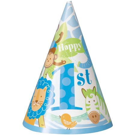 Blue Safari 1st Birthday Party Hats, (First Birthday Party Hat)