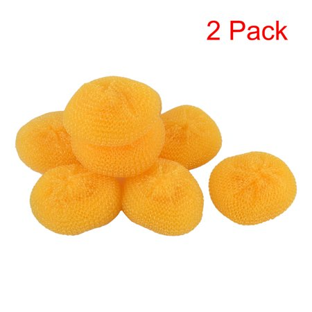 8 Pcs/Pack, 2 Pack, Unique Bargains Kitchen Dish Washing Plastic Scrubber Non Scratch Cleaner Scouring Pads Orange