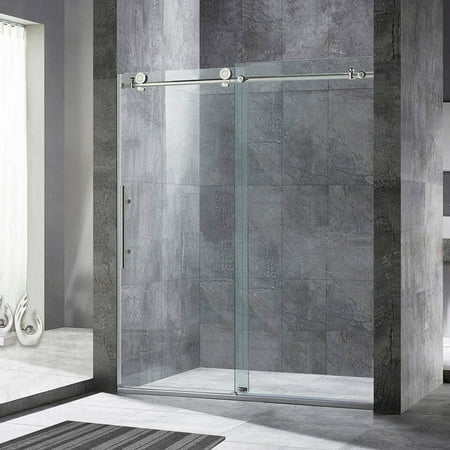 Frameless Bath Shower Doors (WoodBridge Frameless Sliding Shower Door, 56