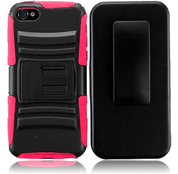 For Apple Iphone 4GS 4G CDMA GSM Side Stand With Holster - Black+Hot Pink