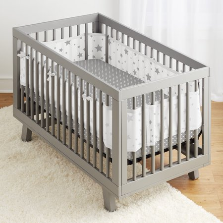 - BreathableBaby® 3pc Classic Crib Bedding Set– Starlight White & Grey