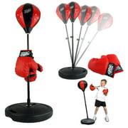 Mgaxyff Kids Boxing Set,Adjustable Height Kids Punching Ball Bag Speed Boxing Sports Set Fighting Game with Gloves