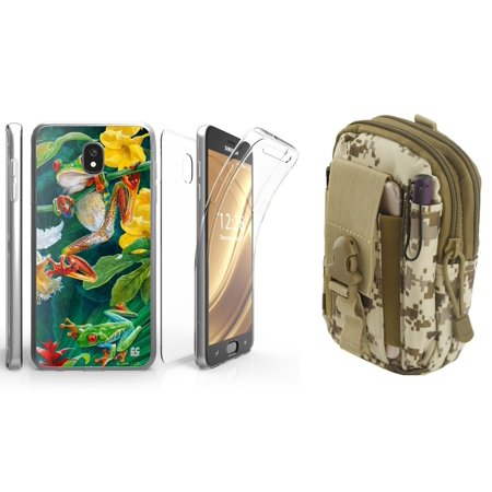 Beyond Cell Tri Max Series Compatible with Samsung Galaxy J7 J737 (J7 V 2nd Gen, Refine, Star, Crown, Aura, Top) with Slim Full Body Coverage Case (Rainforest Frog), Travel Pouch (Desert Camo)