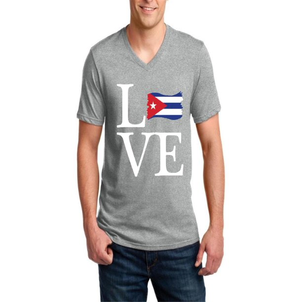 Love Cuba Men V-Neck Shirts Ringspun Tee
