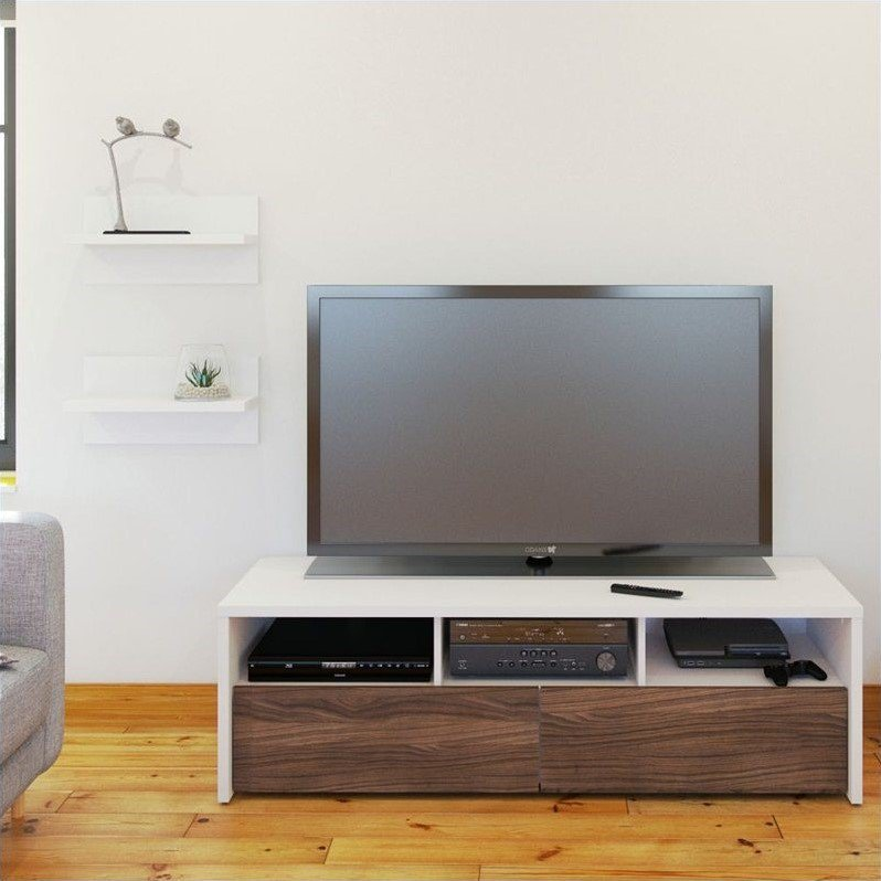 Nexera Liber-T 2 Piece Entertainment Set in White with Wall Shelves - image 1 of 1