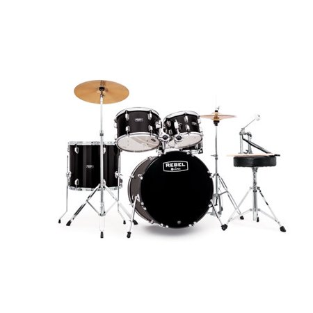 "Mapex RB5294FTCDK Rebel 5-Piece Drum Set with Hardware and Cymbals Black with 22""... by"