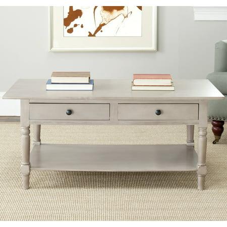 2 Drawer Coffee Table (Safavieh Boris Solid Contemporary 2 Drawer Coffee Table)