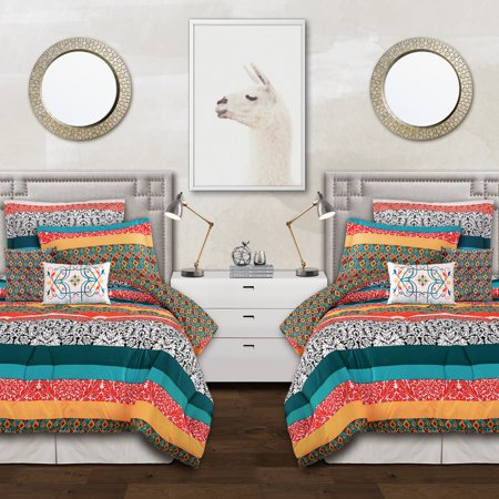 5pc Twin/Twin Extra Long Boho Stripe Comforter Set Turquoise/Tangerine - Lush Décor