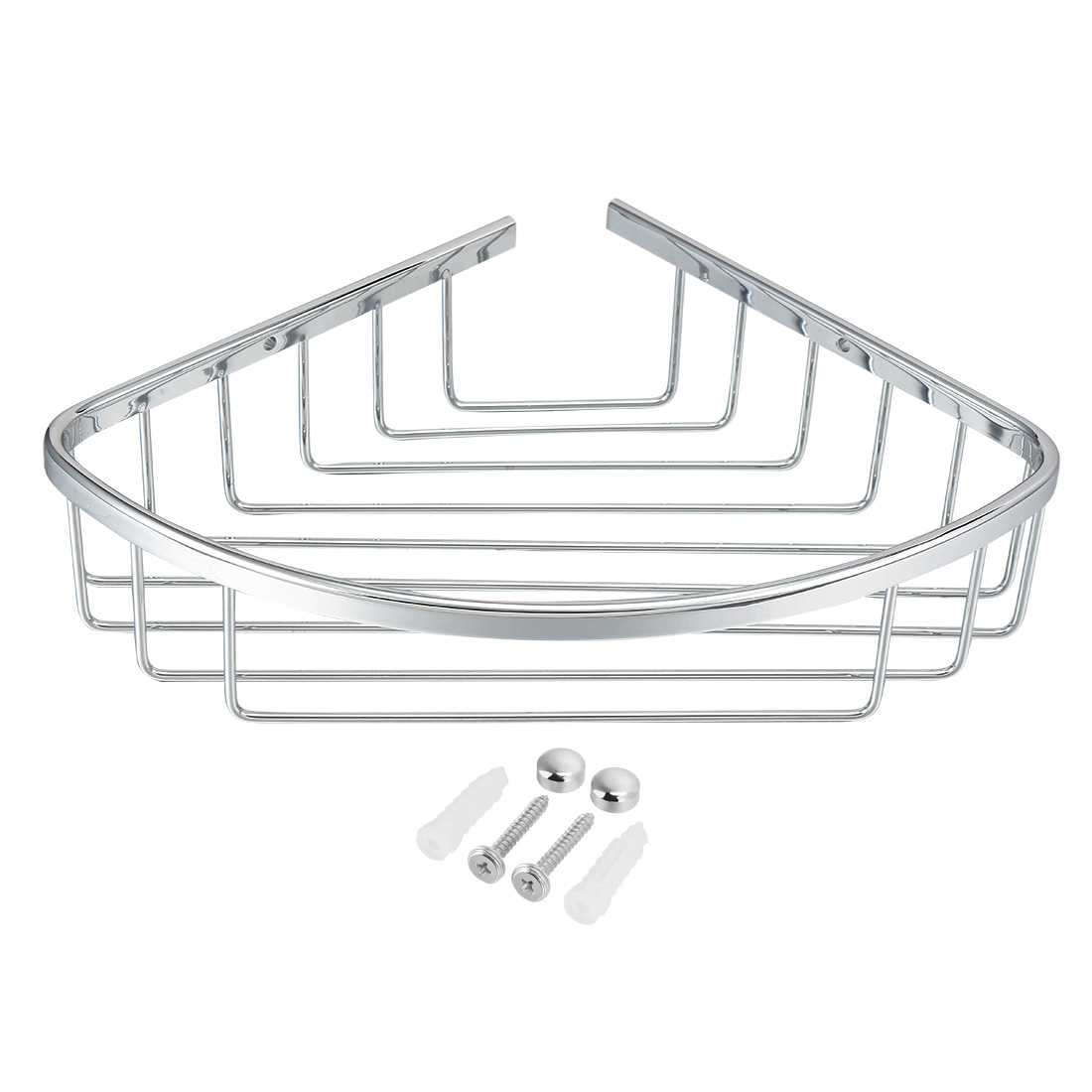 11.4-inch x 8-inch Brass Bathroom Basket Shower Caddy Corner Shelf Silver Tone by