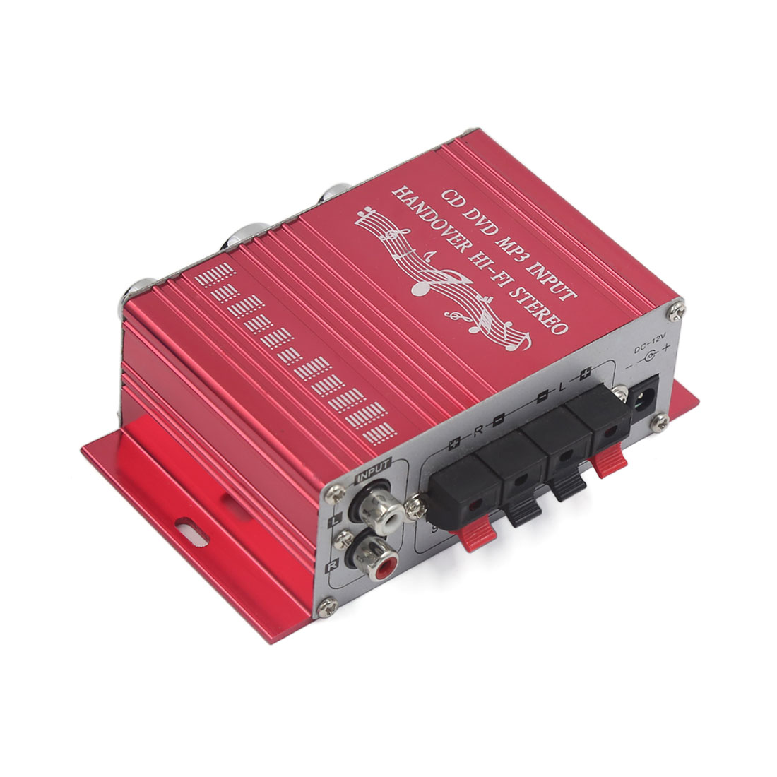 Unique Bargains 2-CH Mini Hi-Fi Car Boat Home Audio Stereo Amplifier CD DVD MP3 Player Red