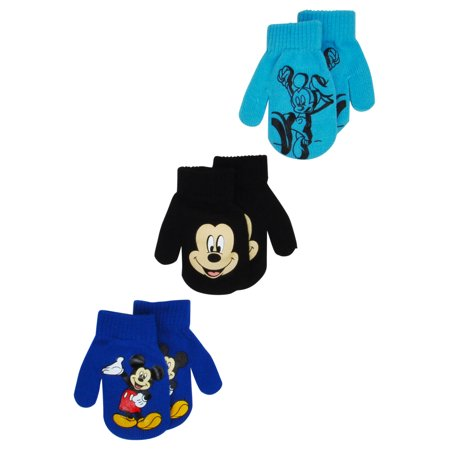 Toddlers Mickey Mouse Gloves Mittens 2T-4T (3-PACK) (Mouse Mittens)