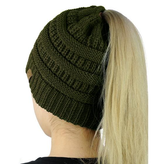 2b42d1d09 C.C BeanieTail Soft Stretch Cable Knit Messy High Bun Ponytail Beanie Hat,  Dk Melange Gray