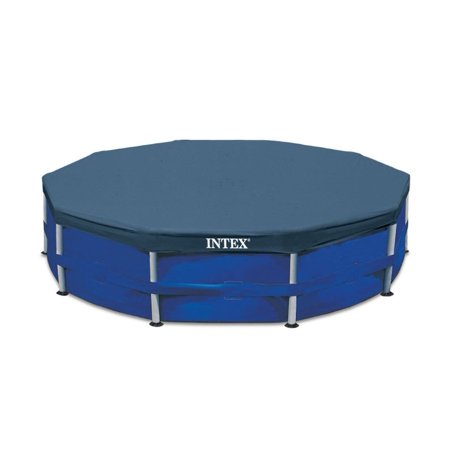 Intex 10-Foot Round Above Ground Pool Vinyl Debris Cover, Blue | 28030E (Pool Cover Water Bags)