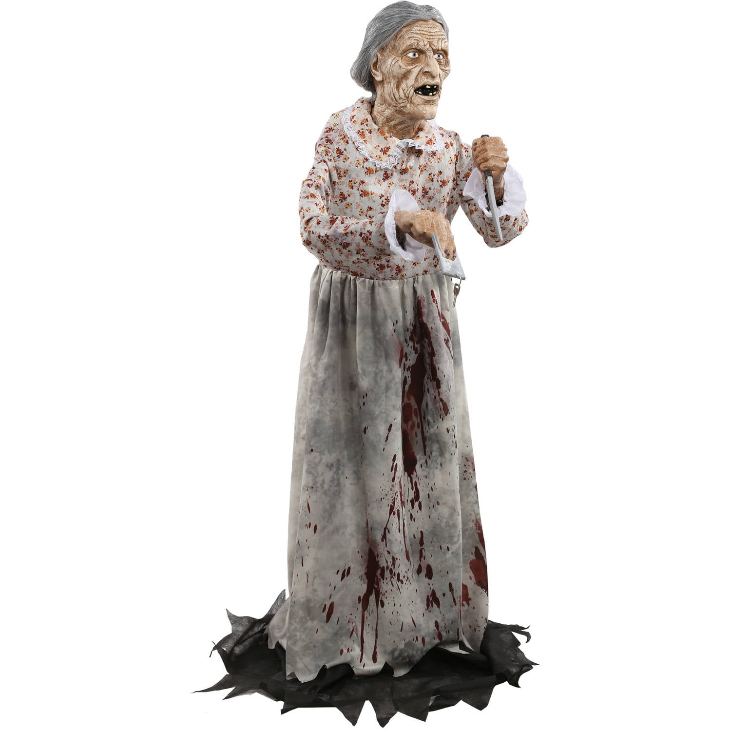 Details about Granny Bates Halloween Prop Lifesize 5 feet Poseable Haunted House Decoration
