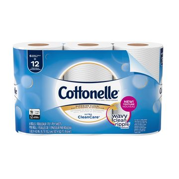 Cottonelle Ultra CleanCare Toilet Paper, Strong Bath Tissue, 6 Double Rolls