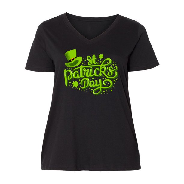 St. Patrick's Day Hand Lettering with Green Top Hat Women's Plus Size V-Neck