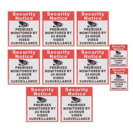 10pcs Security Notice Premises Monitored 24 Hour Video Surveillance Sign Sticker Safety Signs Decal - image 4 de 9