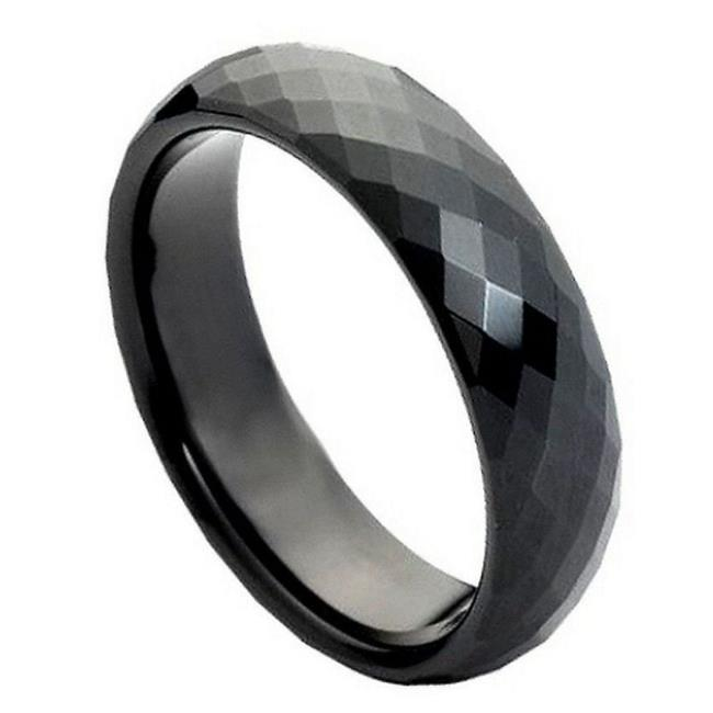 TK Rings 171TR-6mmx14.0 6 mm Black IP Plated Faceted Ring Tungsten Ring - Size 14 - image 1 de 1