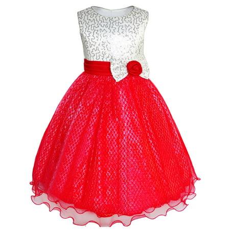 - Girls Dress Glitter Sequin Wedding Bridesmaid Pageant 4