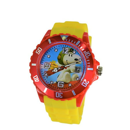 Peanuts Snoopy & Woodstock Flying Ace Modern Analog Silicone Date Wrist Watch For Women Men Children. Large Watch Dial.