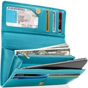 Genuine Leather Clutch Wallets For Women - Accordion Organizer Ladies Wallet With Removable Checkbook Cover And Gift Box RFID Blocking