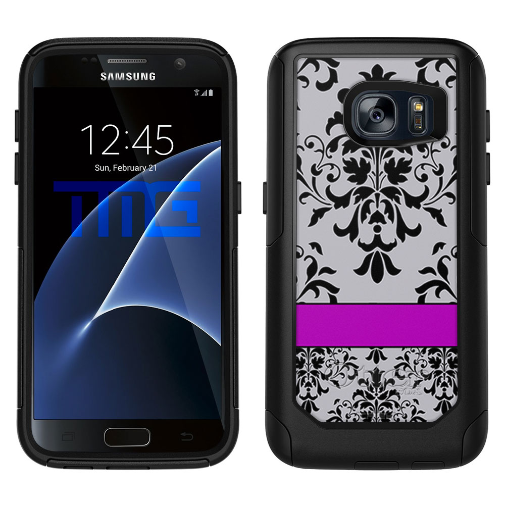 OtterBox Commuter Samsung Galaxy S7 Case - Damask Grey Black Purple Line OtterBox Case
